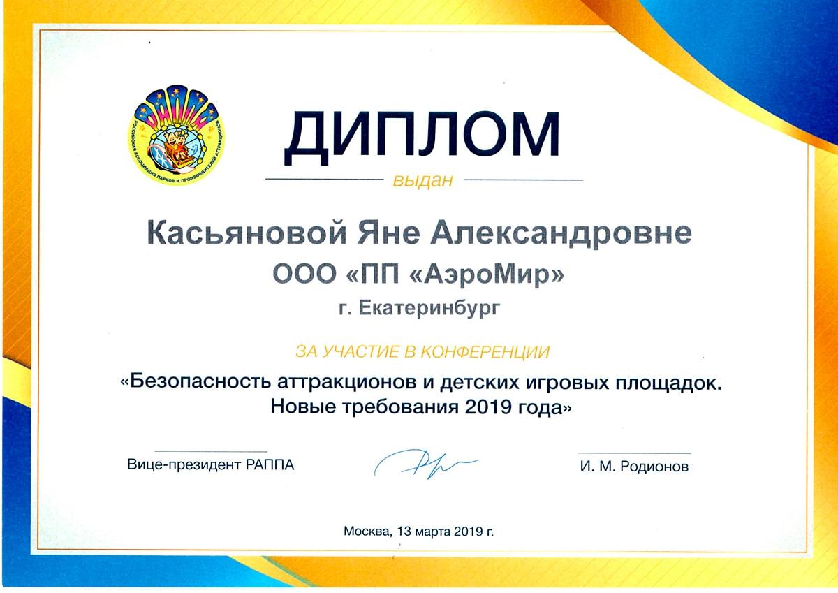 Диплом Безопасность надувных аттракционов